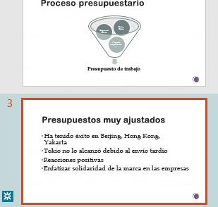 Resaltado de revisión en el panel de miniaturas de PowerPoint