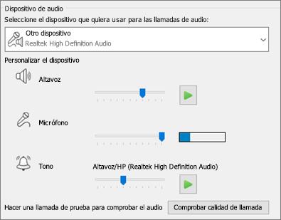 Configuración personalizada (altavoz, micrófono, timbre) para dispositivos de audio