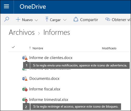 Iconos de sugerencia de directiva en documentos en una cuenta de OneDrive
