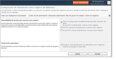 Página Configuración de declaración como registro de biblioteca