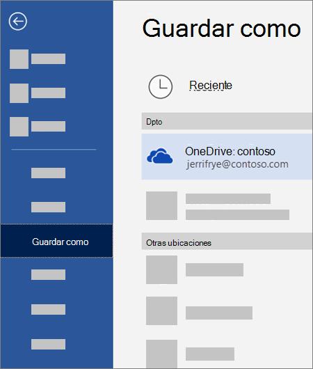 Guardar un archivo de Word en OneDrive para la Empresa