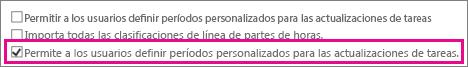 Permitir a los usuarios definir períodos personalizados para actualizaciones de tareas