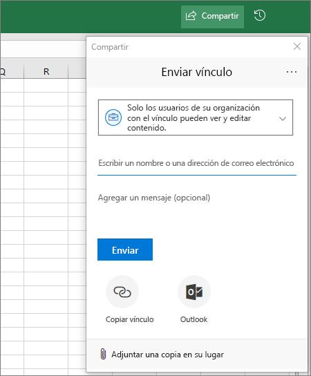 Cuadro de diálogo e icono de compartir en Excel