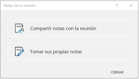 Diálogo de notas de reunión de OneNote