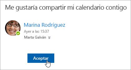 Captura de pantalla del botón Aceptar en una notificación de correo electrónico de calendario compartido.