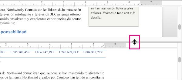 Puede dividir la ventana para mostrar diferentes partes del mismo documento y para mostrar diferentes vistas.