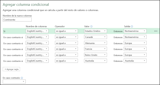 Power Query: columnas condicionales