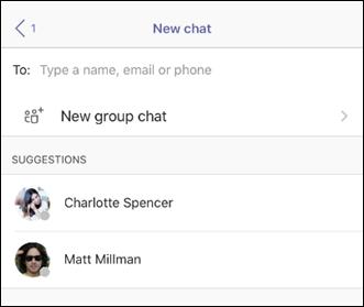 Un grupo nuevo de chat en Teams