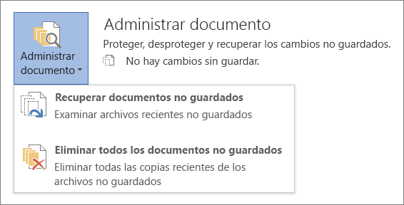 Administrar documentos en Office 2016