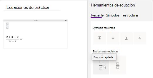 OneNote guarda los símbolos y las estructuras que haya seleccionado recientemente. Seleccione recientes para verlos y usarlos.