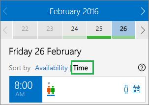Opciones de reunión ordenadas por hora