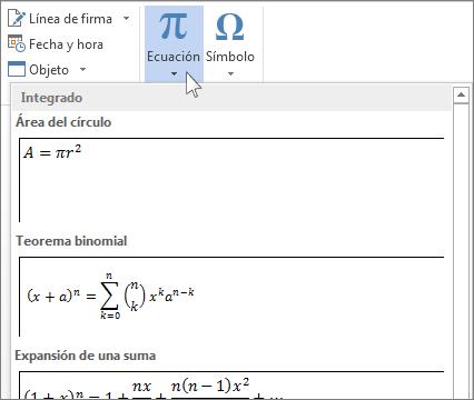 Insertar ecuación