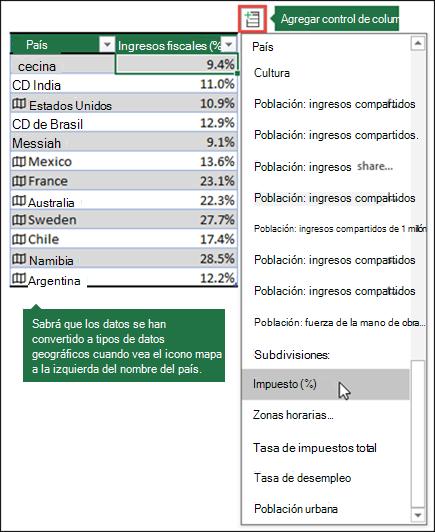 Agregue una columna a un tipo de datos Geography seleccionando una propiedad en el botón Agregar columna.