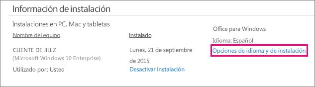 Muestra el vínculo Opciones de idioma e instalación en la administración de cuentas de Office 365