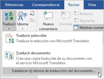 Se muestra Establecer idioma de traducción de documentos en el menú theTranslate