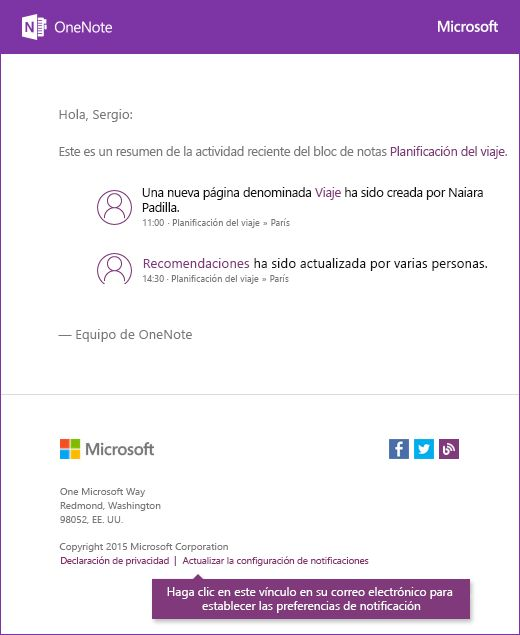 Mensaje de correo electrónico de notificación de OneNote de ejemplo