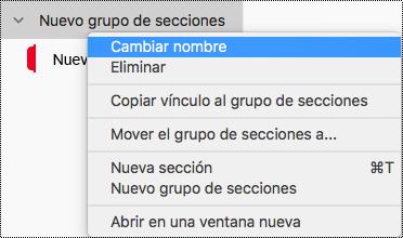 Cambiar el nombre de un grupo de secciones en OneNote para Mac