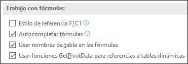 Archivo > Opciones > fórmulas > trabajando con fórmulas > estilo de referencia F1C1