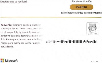 Captura de pantalla: Postal de verificación de Bing para Listings de Microsoft