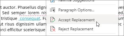 Haga clic con el botón derecho para aceptar o rechazar un cambio.
