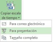 Menú y botón de copia de escala de tiempo en Project