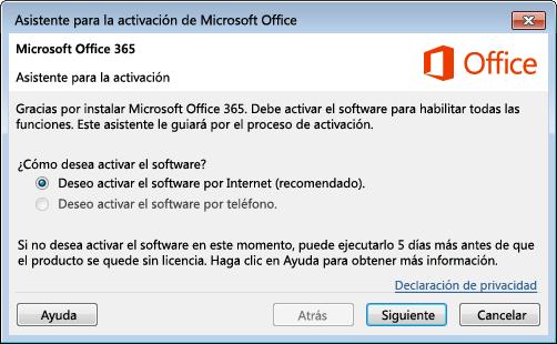 Muestra el asistente para la activación de Office 365