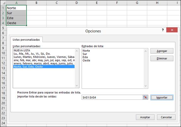 Cuadro de diálogo Lista personalizada desde Archivo > Opciones > Avanzadas > General > Editar listas personalizadas. En Excel 2007, haga clic en el botón de Office > Opciones de Excel > Popular > Editar listas personalizadas.
