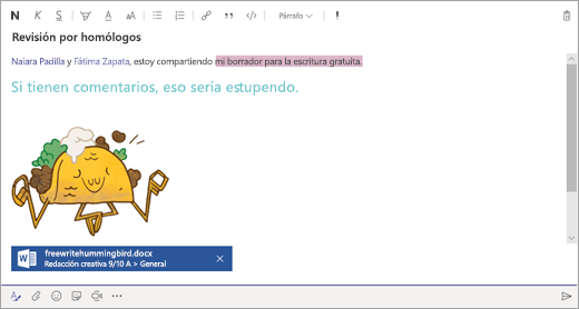 Un mensaje redactado en el cuadro de redacción de Microsoft Teams.