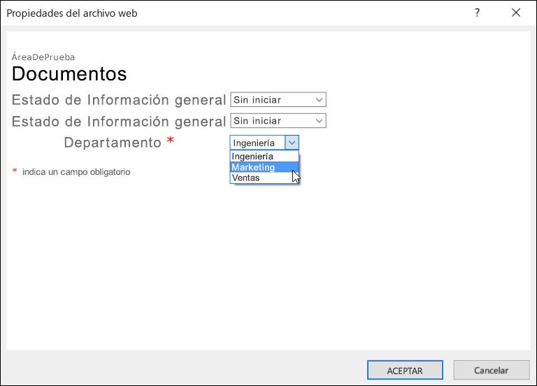 Cuadro de diálogo Propiedades del archivo web con el campo Departamento mostrando una lista de tres opciones.