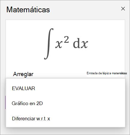 Ecuación de ejemplo que muestra opciones de solución para derivados e integrales