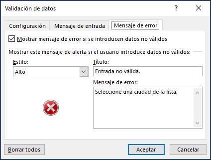 Opciones del mensaje de error desplegable de la validación de datos