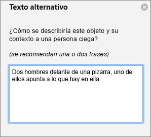 Panel de texto alternativo para agregar texto alternativo a una imagen en Outlook