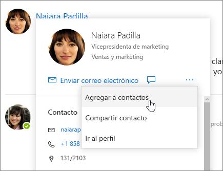 Captura de pantalla de Abrir tarjeta de contacto, con la opción Agregar a contactos seleccionada
