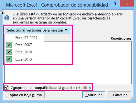 Comprobador de compatibilidad, que muestra las versiones para comprobar