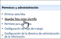 Haga clic en Guardar la plantilla de sitio en permisos y administración