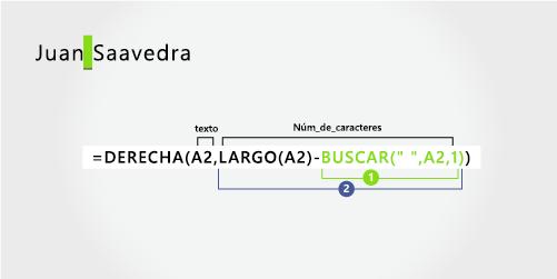 Fórmula para extraer un apellido