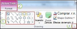 Ejemplo de algunas otras características de la cinta de PowerPoint2010.
