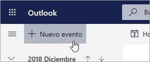 Captura de pantalla del botón Nuevo evento