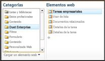 El selector de elementos web permite buscar el elemento web Tareas profesionales que se desea insertar.