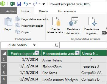 Vista de tabla de Power Pivot