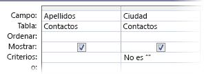 Criterios del diseñador de consultas establecidos con el campo País no en blanco