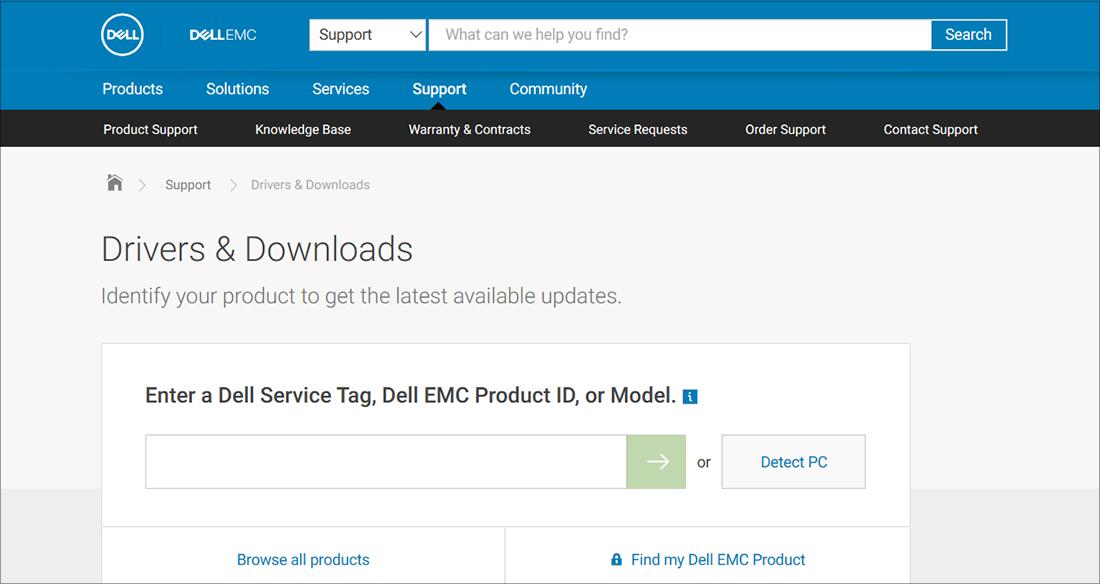 Ejemplo de OEM de descargas y drivers de Dell