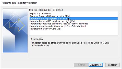 asistente para importar y exportar - importar de otro programa o archivo