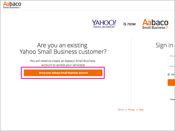 Haga clic en configurar su cuenta de Aabaco Small Business