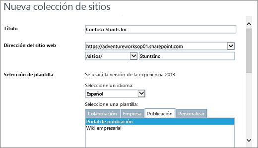 Cuadro de diálogo Nueva colección de sitios la mitad superior con el portal de publicación resaltado