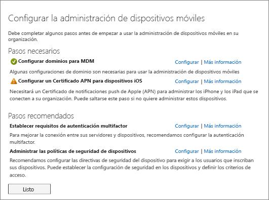 Pasos necesarios y recomendados para configurar la administración de dispositivos móviles
