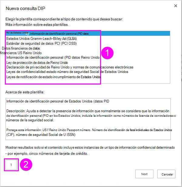 Plantillas de directiva de DLP con la opción de recuento mínimo