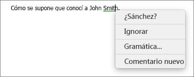Error gramatical con menú contextual que muestra opciones para corregirlo