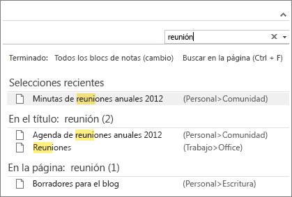 Use Buscar para buscar notas en cualquier lugar de OneNote.