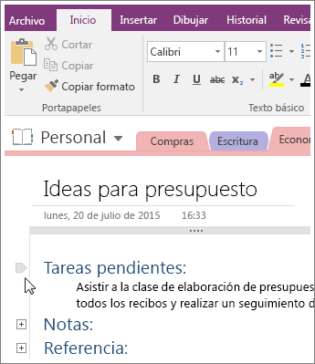 Captura de pantalla de cómo contraer un esquema en OneNote 2016.